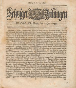 Leipziger Zeitungen vom 02.10.1748