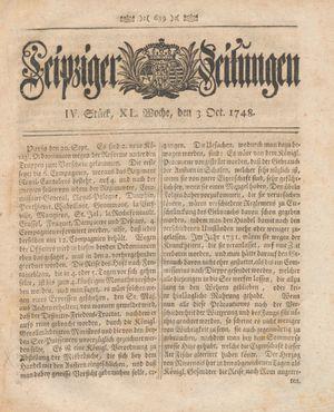 Leipziger Zeitungen vom 03.10.1748