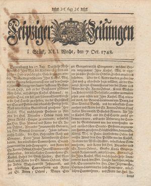 Leipziger Zeitungen vom 07.10.1748
