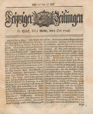 Leipziger Zeitungen vom 08.10.1748