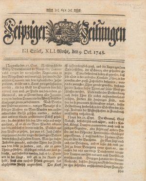 Leipziger Zeitungen vom 09.10.1748