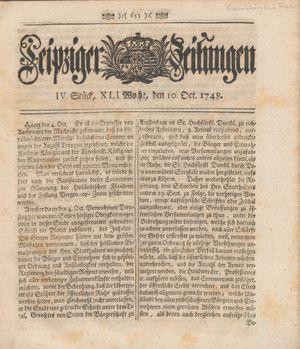 Leipziger Zeitungen vom 10.10.1748