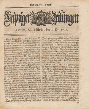 Leipziger Zeitungen vom 14.10.1748