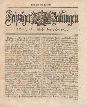 Leipziger Zeitungen vom 15.10.1748