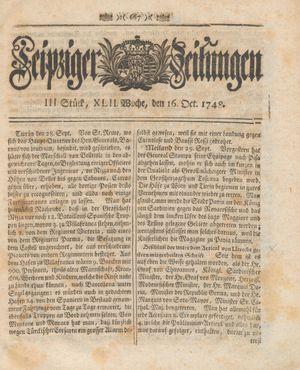 Leipziger Zeitungen vom 16.10.1748