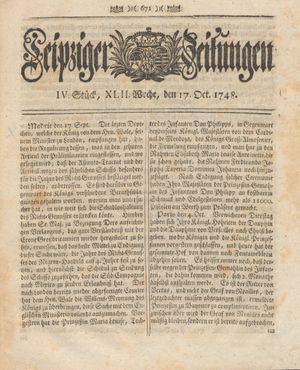 Leipziger Zeitungen vom 17.10.1748