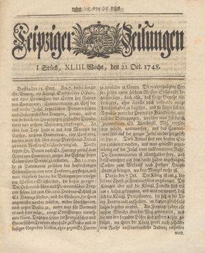 Leipziger Zeitungen vom 21.10.1748