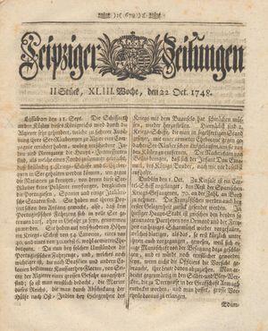Leipziger Zeitungen vom 22.10.1748