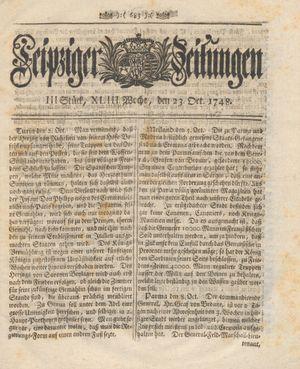 Leipziger Zeitungen vom 23.10.1748