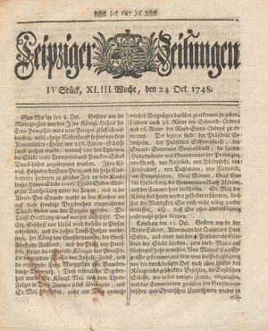 Leipziger Zeitungen vom 24.10.1748