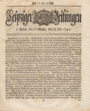Leipziger Zeitungen vom 28.10.1748