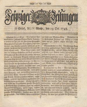 Leipziger Zeitungen vom 29.10.1748