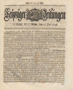Leipziger Zeitungen vom 30.10.1748