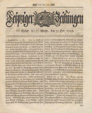 Leipziger Zeitungen vom 31.10.1748