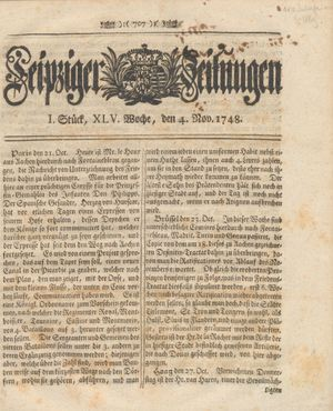 Leipziger Zeitungen vom 04.11.1748