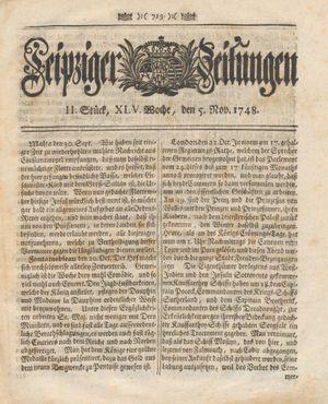 Leipziger Zeitungen vom 05.11.1748
