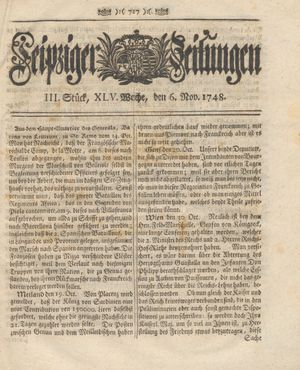 Leipziger Zeitungen vom 06.11.1748