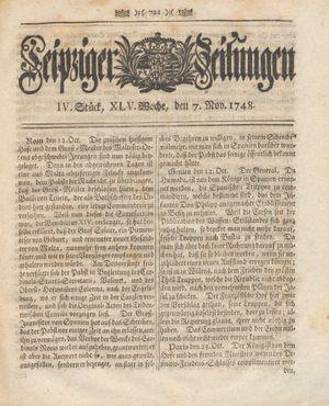 Leipziger Zeitungen vom 07.11.1748