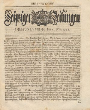 Leipziger Zeitungen vom 11.11.1748