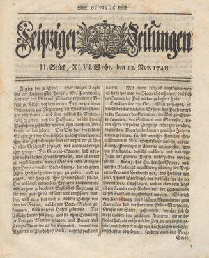 Leipziger Zeitungen vom 12.11.1748