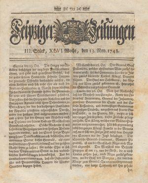 Leipziger Zeitungen vom 13.11.1748