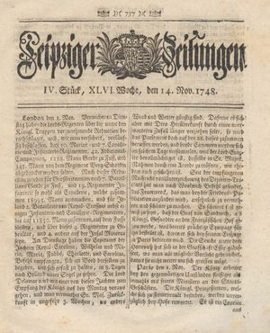 Leipziger Zeitungen vom 14.11.1748