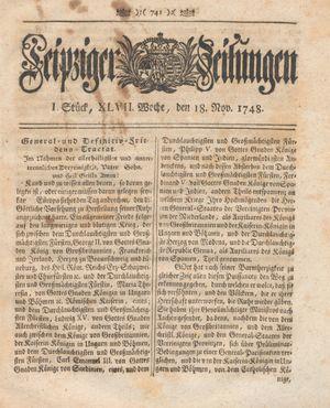 Leipziger Zeitungen vom 18.11.1748