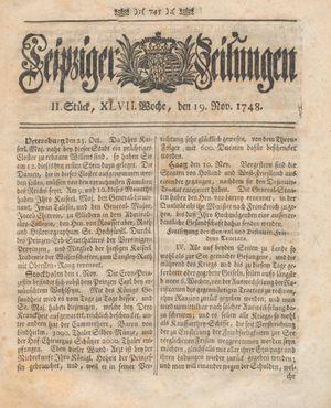 Leipziger Zeitungen vom 19.11.1748