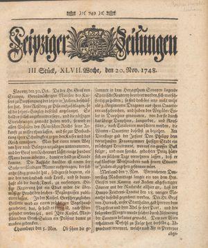 Leipziger Zeitungen vom 20.11.1748