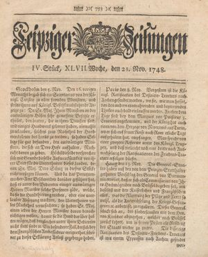Leipziger Zeitungen vom 21.11.1748