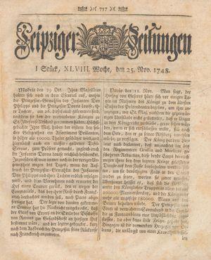 Leipziger Zeitungen vom 25.11.1748