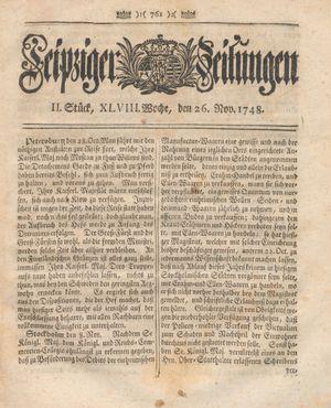 Leipziger Zeitungen vom 26.11.1748