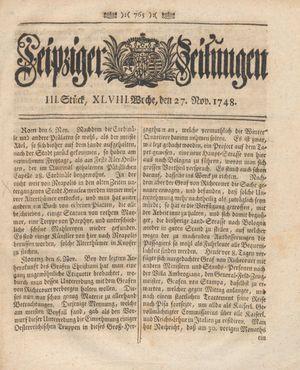 Leipziger Zeitungen vom 27.11.1748