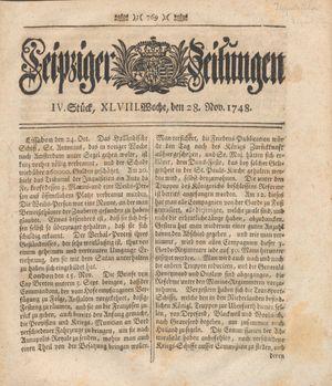 Leipziger Zeitungen vom 28.11.1748