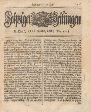 Leipziger Zeitungen vom 03.12.1748