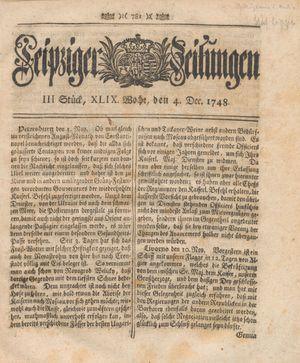 Leipziger Zeitungen vom 04.12.1748