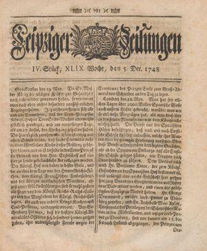 Leipziger Zeitungen vom 05.12.1748