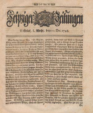 Leipziger Zeitungen vom 10.12.1748