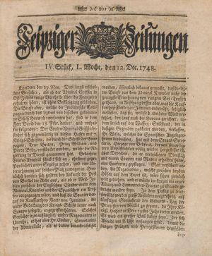 Leipziger Zeitungen vom 12.12.1748