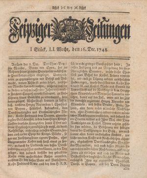Leipziger Zeitungen vom 16.12.1748