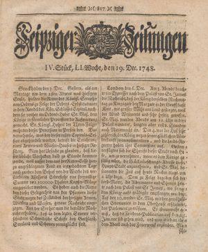Leipziger Zeitungen vom 19.12.1748
