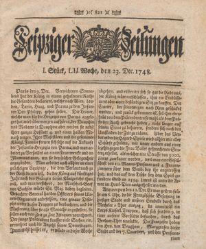Leipziger Zeitungen vom 23.12.1748