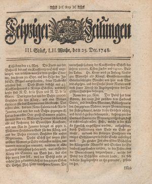 Leipziger Zeitungen vom 25.12.1748