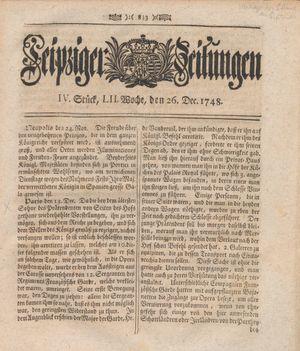 Leipziger Zeitungen vom 26.12.1748