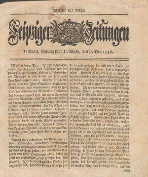 Leipziger Zeitungen vom 31.12.1748