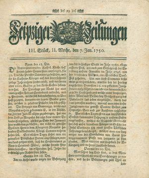 Leipziger Zeitungen vom 07.01.1750
