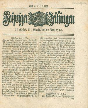 Leipziger Zeitungen vom 13.01.1750