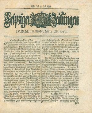 Leipziger Zeitungen vom 15.01.1750