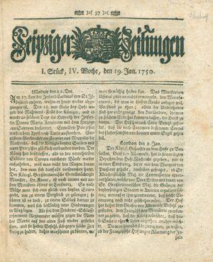 Leipziger Zeitungen vom 19.01.1750