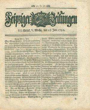 Leipziger Zeitungen vom 28.01.1750